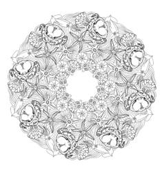 Hand drawn ornamental mandala sea themed vector image
