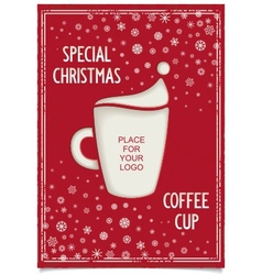 Joke Christmas poster with stylized coffee cup vector image vector image