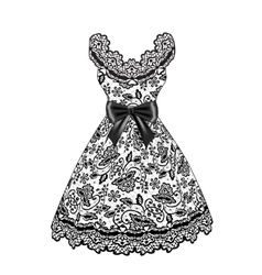 Lace black dress vector image vector image