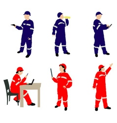 man and woman in coveralls vs vector image vector image