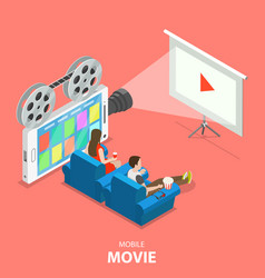 Mobile movie flat isometric concept vector
