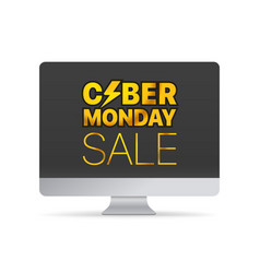 Modern computer with the messege the cyber monday vector