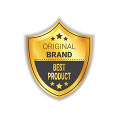 original brand label golden shield best product vector image