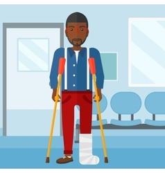 Patient with broken leg vector image