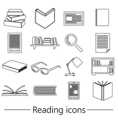 Reading books theme set of simple black outline vector
