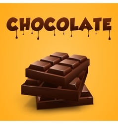Realistic chocolate bar with orange background vector image
