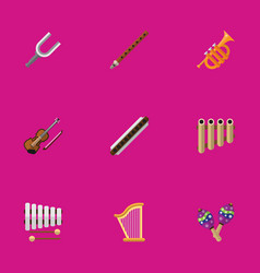 Set of 9 editable audio flat icons includes vector