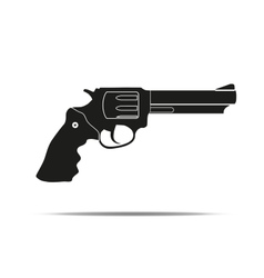 Silhouette simple symbol of revolver vector image