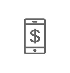 simple mobile bank app line icon symbol and sign vector image