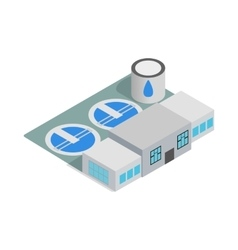 Water treatment building icon isometric 3d style vector image