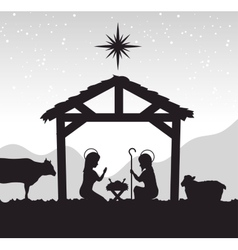 Silhouette manger merry christmas isolated design vector