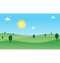 Nature landscape with hill and sun vector