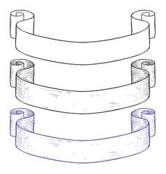ribbon banner hand drawn sketch vector image