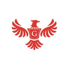 Elegant phoenix with letter g logo vector