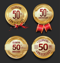 Anniversary retro golden labels collection 50 vector