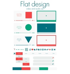 Flat design video and audio sets vector
