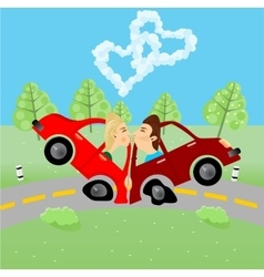 Man and woman kissing in an accident vector