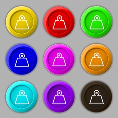 Weight icon sign symbol on nine round colourful vector