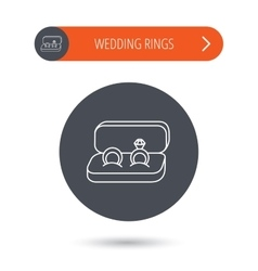 Wedding rings icon jewelry with diamond sign vector