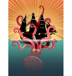 Sea monster and sailing ship vector