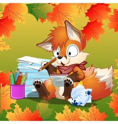 Little fox doing his school homework vector