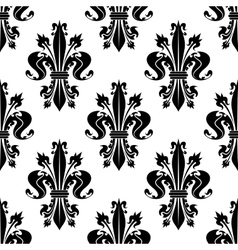 Black and white seamless fleur-de-lis pattern vector