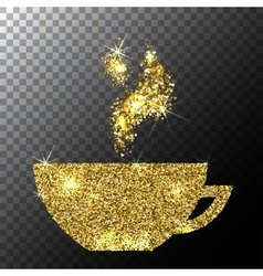 Gold glitter sparkle cup of coffee with vector