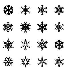 Black snowflake icon set vector