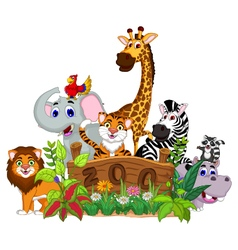 Zoo and the animal cartoon vector