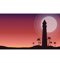 At sunrise lighthouse scenery of silhouette vector