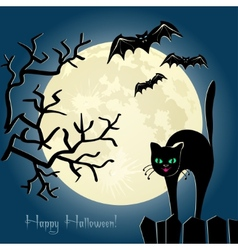 Black cat on a fence in front of the moon vector