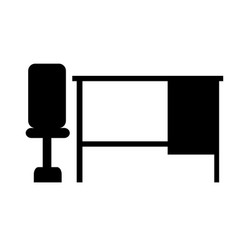 black chair desk table icon banner isolated vector image