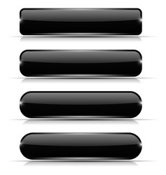 black glass buttons set of long rectangular web vector image vector image
