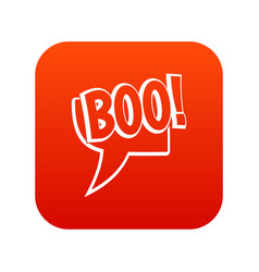 boo comic text speech bubble icon digital red vector image
