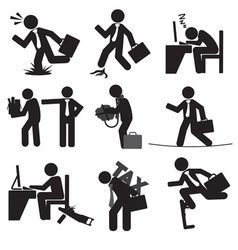 Business man risk icon set vector