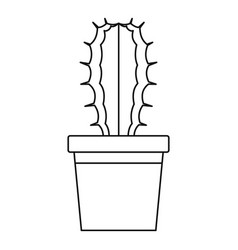 cactaceae cactus in a pot icon outline style vector image