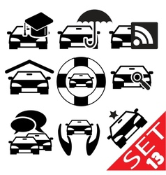 car part icon set 13 vector image