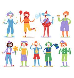 Cartoon clown character funny circus man clownery vector