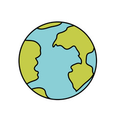 Colorful silhouette of earth globe icon vector