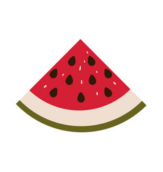 Colorful silhouette with watermelon fruit cut and vector