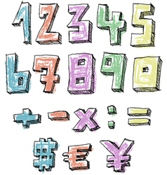 Colorful sketchy hand drawn numbers vector image