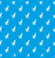 egyptian cat pattern seamless blue vector image vector image