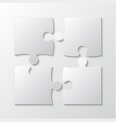 four white piece jigsaw puzzle four section vector image