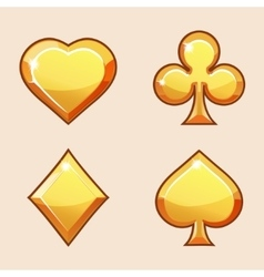 Gold icons of playings cards vector image vector image