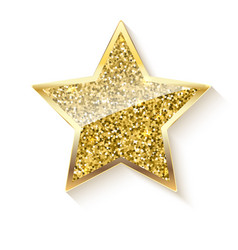 golden star with glitter and reflex vector image vector image