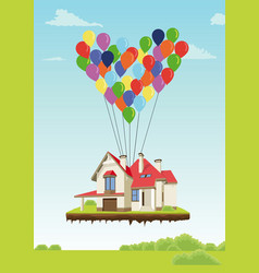 House with multicolored balloons vector
