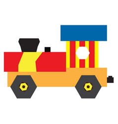 isolated geometric train toy vector image
