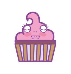 Kawaii cute happy muffin dessert vector