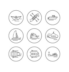 Linear flat icons water transport vector