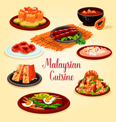 Malaysian cuisine cartoon poster for menu design vector